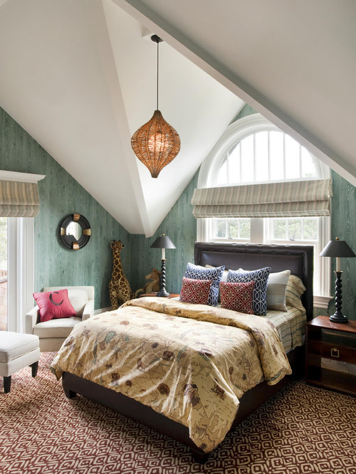 Ex&le of a trendy bedroom design in Boston with green walls & Headboard In Front Of Window | Houzz Pezcame.Com