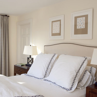 Example of a trendy bedroom design in Boston with beige walls