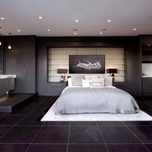 Foto de habitación de invitados actual, de tamaño medio, con paredes grises, suelo de mármol, chimenea de doble cara, marco de chimenea de piedra y suelo negro