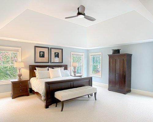 Example of a large classic master bedroom design in Chicago with blue walls  and carpetModern Traditional Bedroom   Houzz of Modern Traditional Bedroom