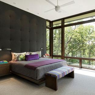 Trendy carpeted and gray floor bedroom photo in Minneapolis