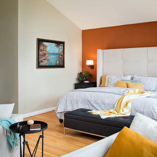 Design ideas for a mid-sized transitional master bedroom in San Francisco with multi-coloured walls, light hardwood floors, no fireplace and yellow floor.