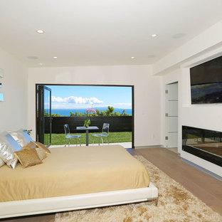 Foto di una camera matrimoniale minimalista di medie dimensioni con pareti bianche, parquet chiaro, camino lineare Ribbon, cornice del camino piastrellata e pavimento marrone