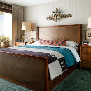 Idées déco pour une chambre avec moquette contemporaine avec un mur gris et un sol vert.