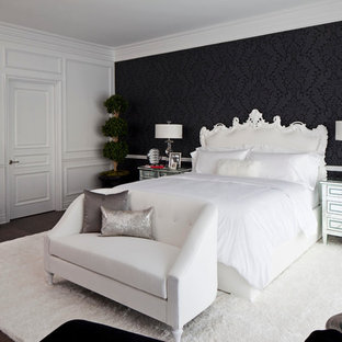 Inspiration for a large transitional master dark wood floor bedroom remodel in Los Angeles with black walls and no fireplace