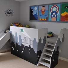 Eclectic Bedroom Superhero kids room