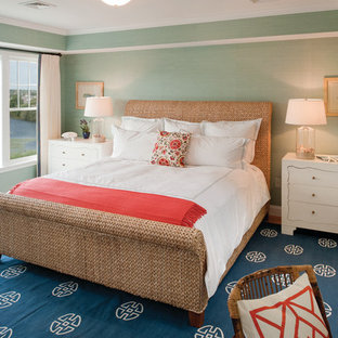 Example of an island style bedroom design in Providence