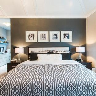 Modelo de dormitorio actual con paredes grises
