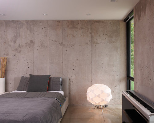 Concrete Walls Design minimalist industrial bedroom design with concrete wall and flooring Saveemail