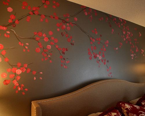 Cherry blossom mural home design ideas pictures remodel for Cherry blossom tree mural