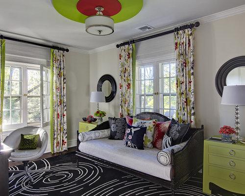 example of a small trendy guest dark wood floor and brown floor bedroom design in new