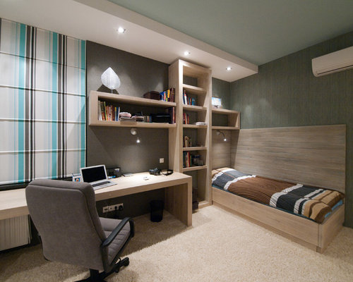 Contemporary Carpeted Bedroom Idea In Other With Gray Walls