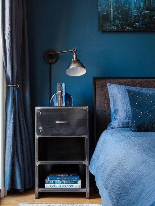 Camera da letto moderna con pareti blu - Foto e Idee per Arredare