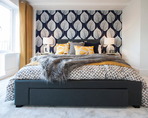Trendy Carpeted Bedroom Photo In Dorset With White Walls