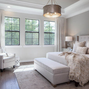 Inspiration For A Transitional Medium Tone Wood Floor And Brown Bedroom Remodel In Other With