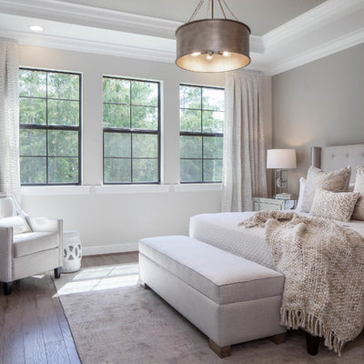 Inspiration for a transitional medium tone wood floor and brown floor bedroom remodel in Other with gray walls