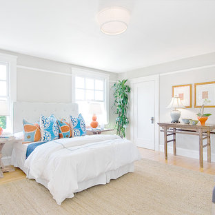 Inspiration for a timeless light wood floor bedroom remodel in San Francisco with gray walls