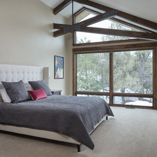 Example of a mountain style carpeted and beige floor bedroom design in Albuquerque with beige walls