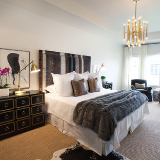 Example of a transitional carpeted bedroom design in Houston with white walls