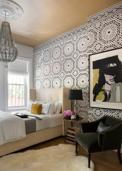 Transitional Bedroom by Tanya Capaldo Designs