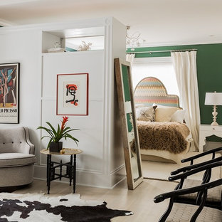 Large trendy master light wood floor and beige floor bedroom photo in Boston with green walls and no fireplace