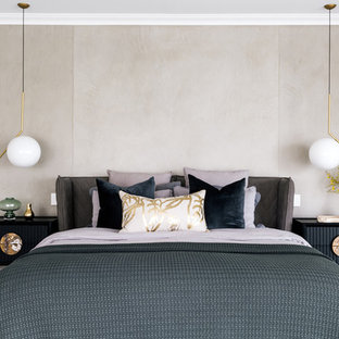 Design ideas for a contemporary bedroom in Perth with beige walls, carpet and grey floor.