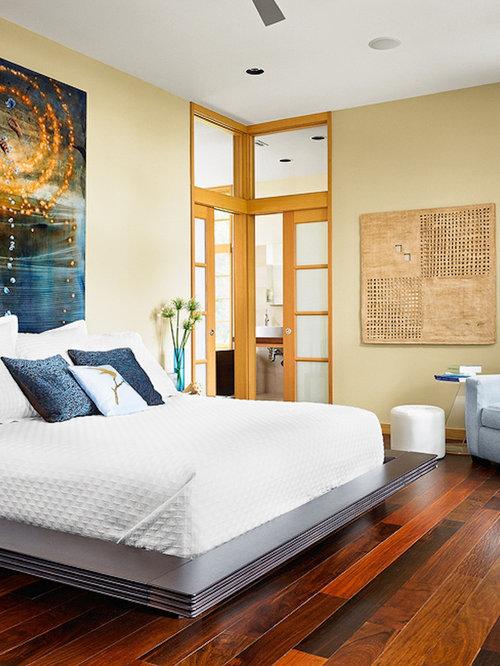 dark wood floor bedroom. Example of a mid sized asian master dark wood floor and brown bedroom  design Master Bedroom Dark Floor Houzz