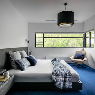 Photo of a mid-sized contemporary master bedroom in Melbourne with white walls, carpet and blue floor.