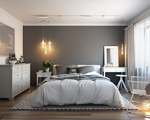 chambre avec un sol en linol um et un mur gris photos et id es d co de chambres. Black Bedroom Furniture Sets. Home Design Ideas