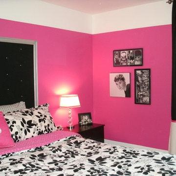 Teen Girl's Bedroom | Hot Pink, Black & White