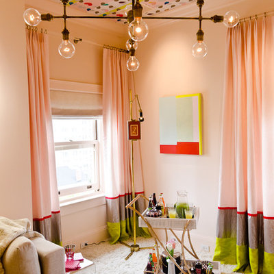 Bedroom - eclectic carpeted bedroom idea in San Francisco with pink walls