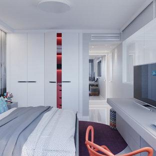 Foto de habitación de invitados contemporánea, de tamaño medio, con paredes grises, suelo de baldosas de porcelana y suelo blanco