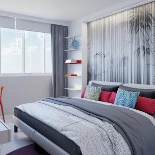 Свежая идея для дизайна: гостевая спальня среднего размера в скандинавском стиле с серыми стенами, полом из керамогранита и белым полом - отличное фото интерьера