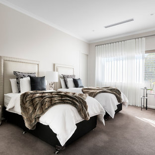 Bedroom - huge contemporary guest carpeted and gray floor bedroom idea in Perth with gray walls and no fireplace
