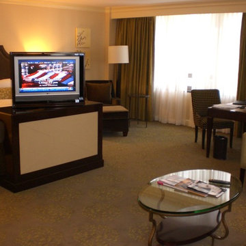 Television Lift Cabinet at Farimont Hotel. TV lift cabinets by Cabinet Tronix
