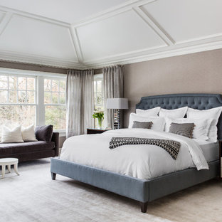 Bedroom - transitional master carpeted and beige floor bedroom idea in New York with beige walls