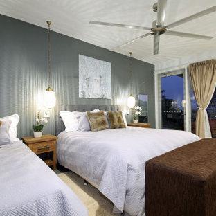 Idee per una camera degli ospiti design con pareti grigie, pavimento in cemento e pavimento verde