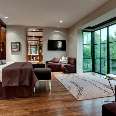 Inspiration for a contemporary dark wood floor bedroom remodel in Dallas with gray walls and no fireplace