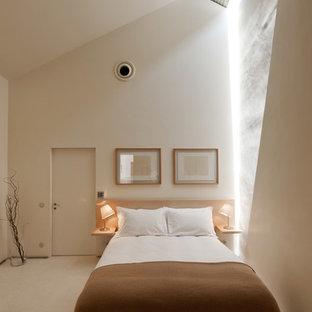 Ejemplo de dormitorio tipo loft, moderno, extra grande, con paredes blancas, suelo de mármol y chimenea tradicional