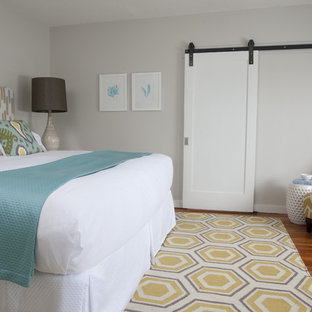 Transitional medium tone wood floor bedroom photo in Providence with gray walls