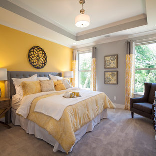 Inspiration for a mid-sized modern carpeted and gray floor bedroom remodel in Nashville with gray walls and no fireplace