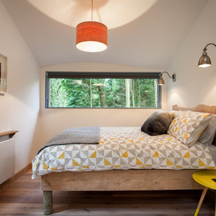 Design ideas for a rustic bedroom in Devon with white walls and light hardwood flooring.