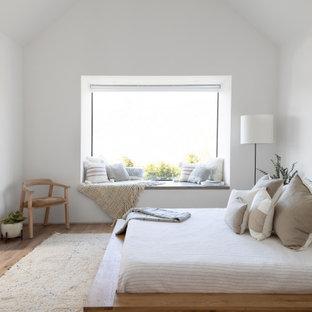 Foto de dormitorio abovedado y principal, actual, pequeño, sin chimenea, con paredes blancas, suelo de madera en tonos medios y suelo marrón