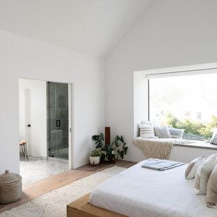 Идея дизайна: маленькая хозяйская спальня в стиле модернизм с белыми стенами, коричневым полом, сводчатым потолком и паркетным полом среднего тона без камина