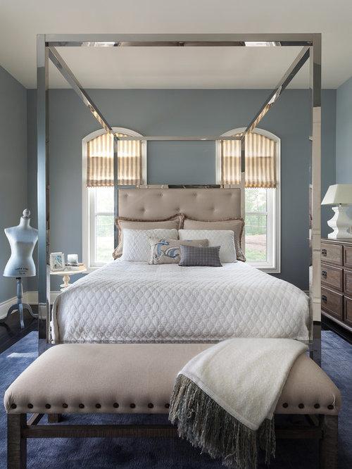 Example of a transitional dark wood floor bedroom design in Toronto with  gray walls