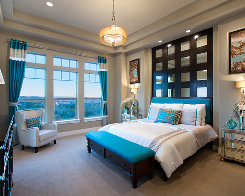 Trendy carpeted bedroom photo in Austin with beige walls. Aqua Curtains   Houzz