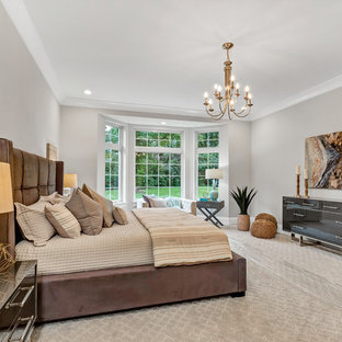 Bedroom - transitional carpeted and gray floor bedroom idea in St Louis with gray walls