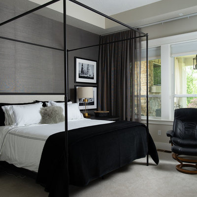 Beach style master carpeted and gray floor bedroom photo in Boise with gray walls