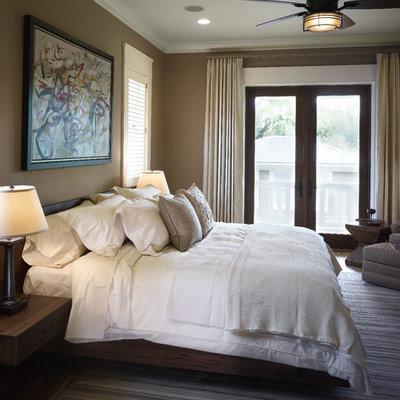 Bedroom - contemporary bedroom idea in Tampa with beige walls