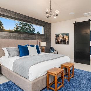 シアトルのコンテンポラリースタイルのおしゃれな寝室 (ベージュの壁、ベージュの床) のインテリア